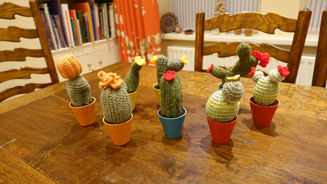 Crochet Cacti in Mini Classic Pots by Rosemary Laughton