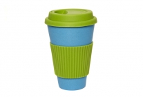 Coffee Cup - Blue with Green Silicone