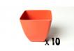 10 x Small Square Planter - Bright Orange