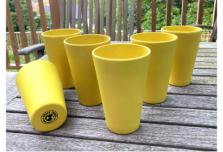 6 x Bright Yellow Cups / Beakers