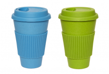 Set of 2 Blue + Green Coffee Cup