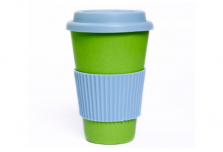Green Cup with Sky Blue Silicone