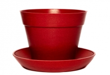 Classic Plant Pot with Saucer - Red