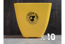 10 x Small Square Planter - Yellow
