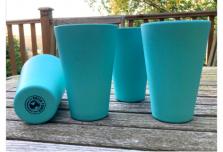4 x Aqua Blue Cups / Beakers