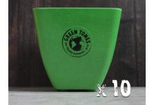 10 x Small Square Planter - Green
