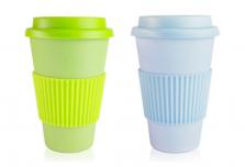 Set of 2 Light Blue + Light Green Coffee Cup