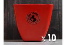 10 x Small Square Planter - Red