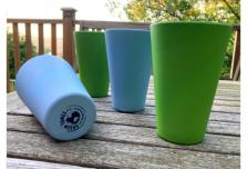 4 x Sky Blue & Green Cups / Beakers