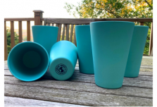 6 x Aqua Blue Cups / Beakers