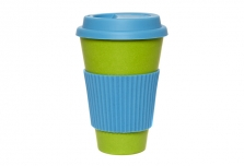 Coffee Cup - Green with Blue Silicone