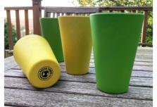 4 x Bright Yellow & Green Cups / Beakers