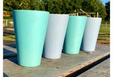 4 x Aqua & Sky Blue Cups / Beakers
