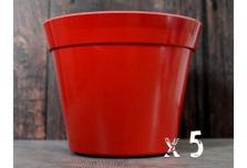 5 x Classic Plant Pot - Red