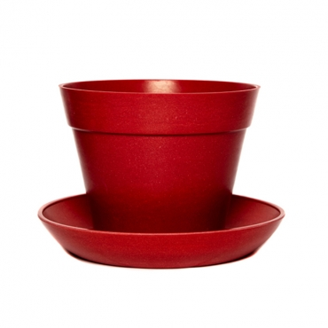 Classic Plant Pot with Saucer - Red Image