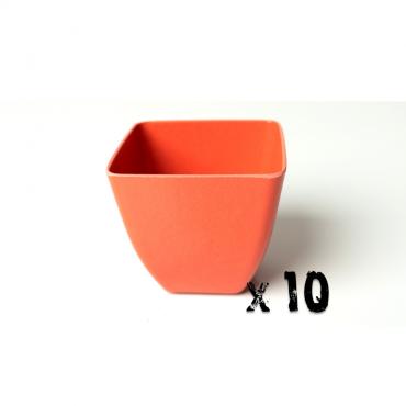 10 x Small Square Planter - Bright Orange Image