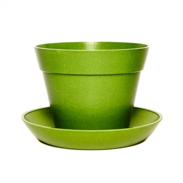 Classic Plant Pot with Saucer - Green Image