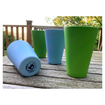 4 x Sky Blue & Green Cups / Beakers Image