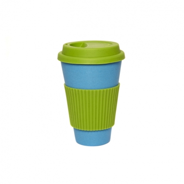 Coffee Cup - Blue with Green Silicone Image